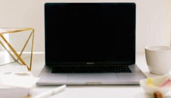 brunette working on mac laptop doing pinterest