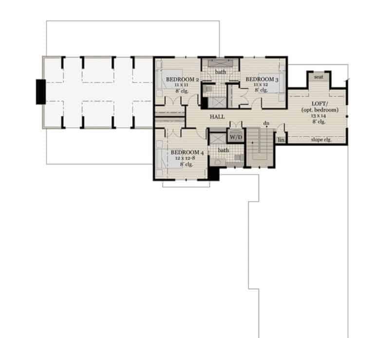 Floor plan inspiration for Down Leah's Lane's new Modern Farmhouse. Source Pinterest via ArchitecturalDesigns.com