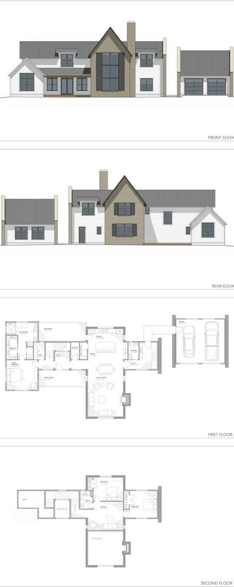 Two Story Modern Farmhouse sprawl floor plan