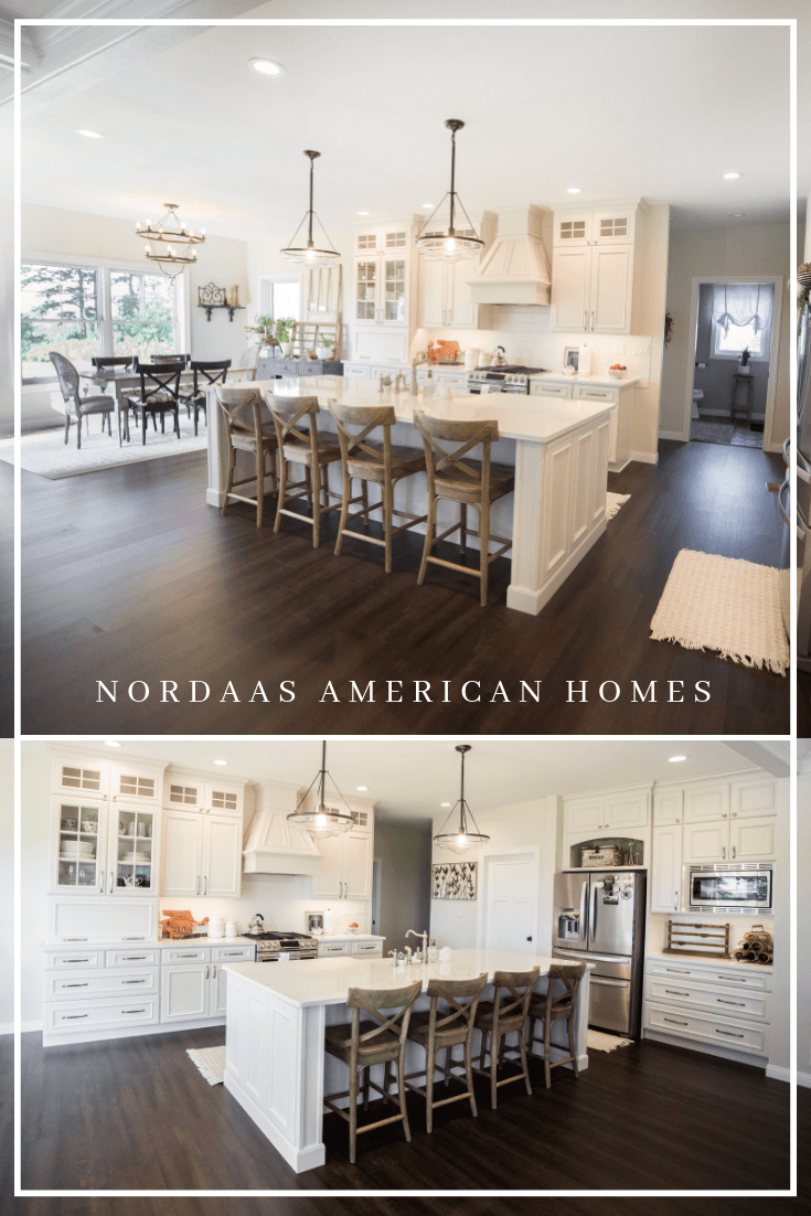Nordaas American Homes white modern farmhouse kitchen open concept floor plan