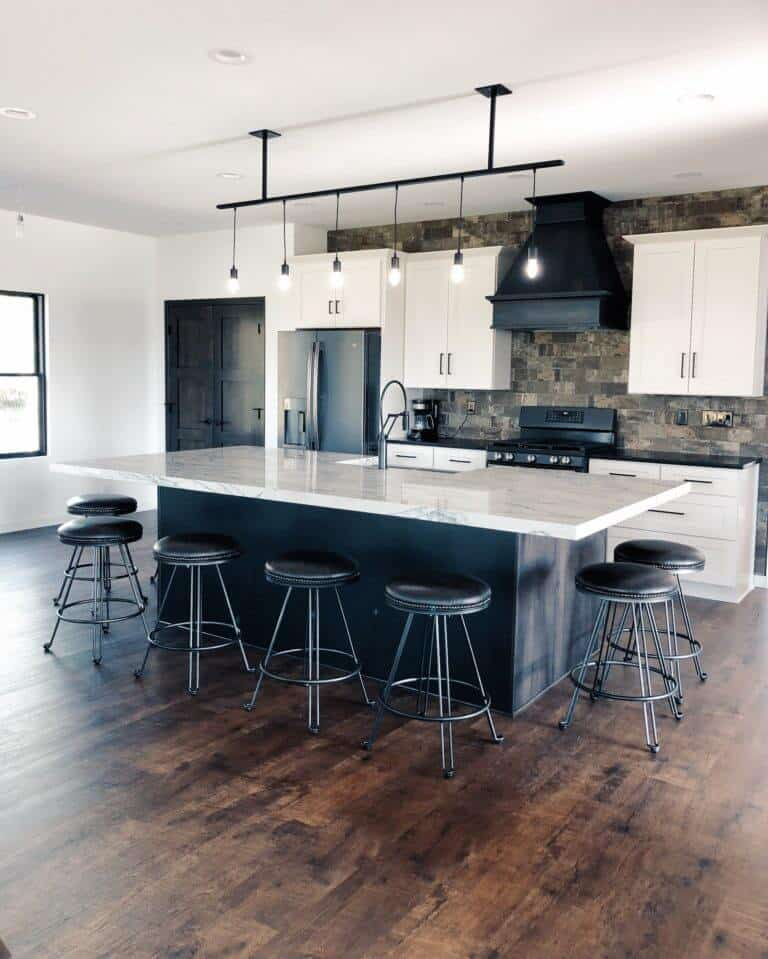 Down Leah's Lane open concept kitchen living dining room floor plan modern industrial farmhouse