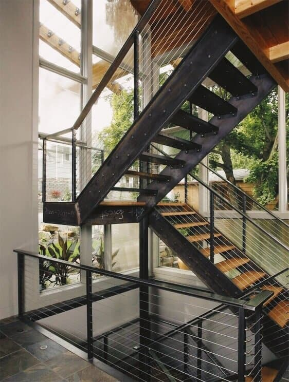 U Shaped open stringer and open tread stairs with cable railing