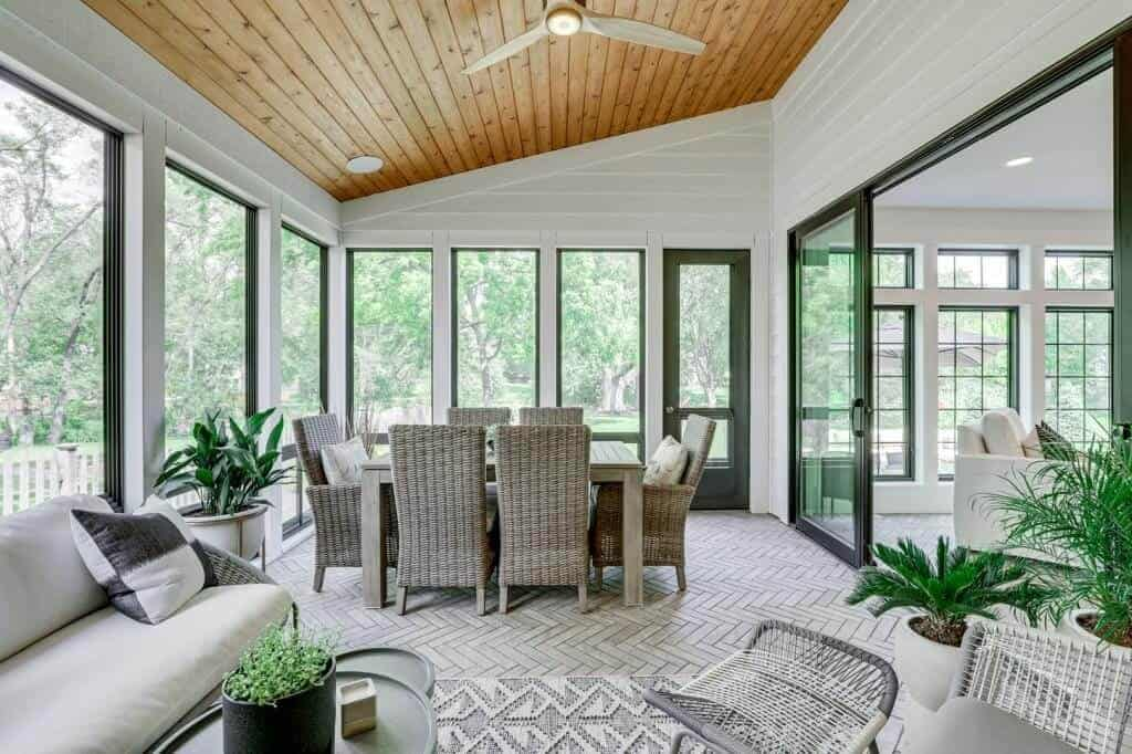 3 seasons porch cedar ceiling planks herringbone floors