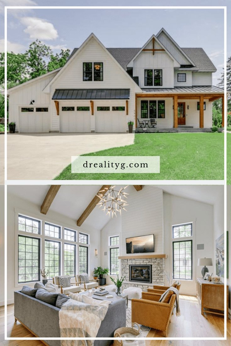 modern farmhouse exterior and interior living room vaulted ceiling with beams