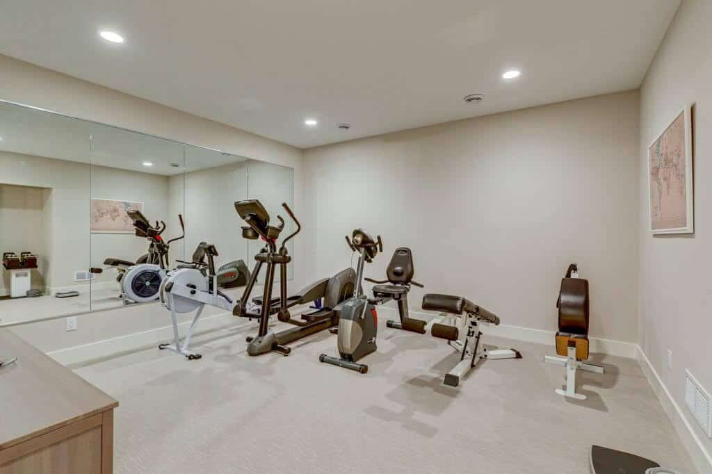 exercise room lower level new home