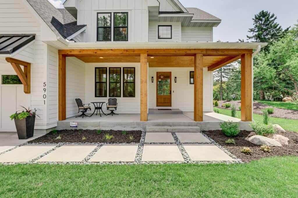 exterior porch of modern farmhouse with cedar accents