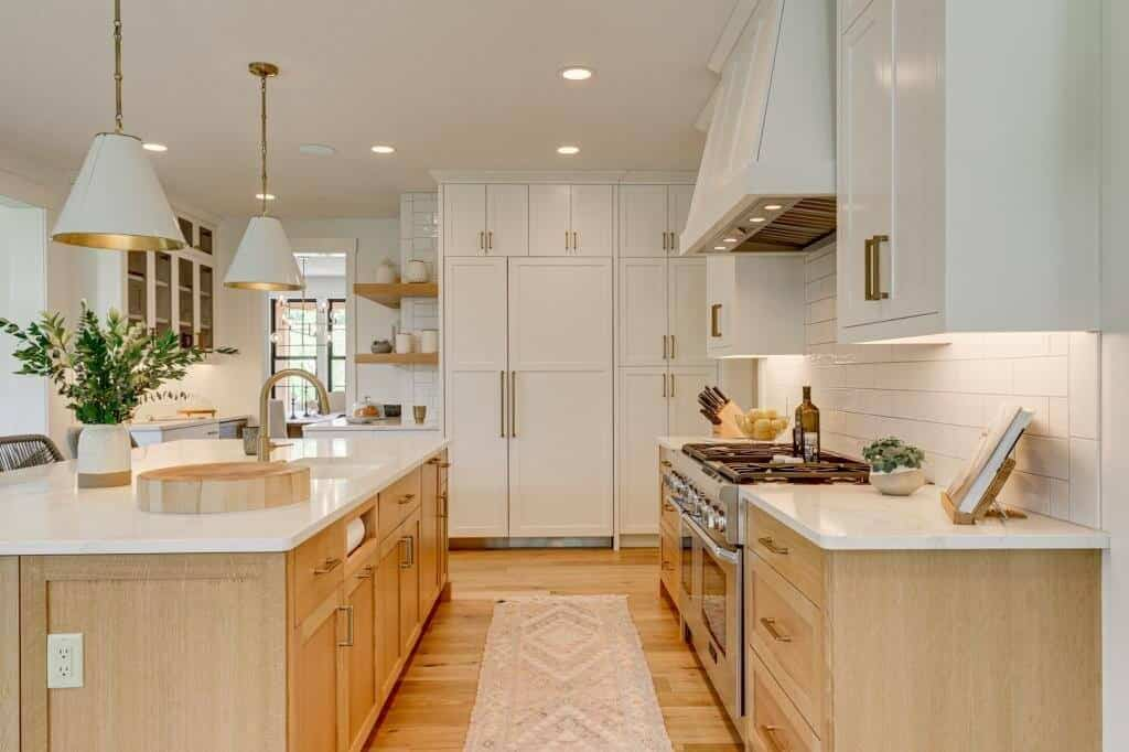 white kitchen brass hardware white oak cabinets white oak flooring