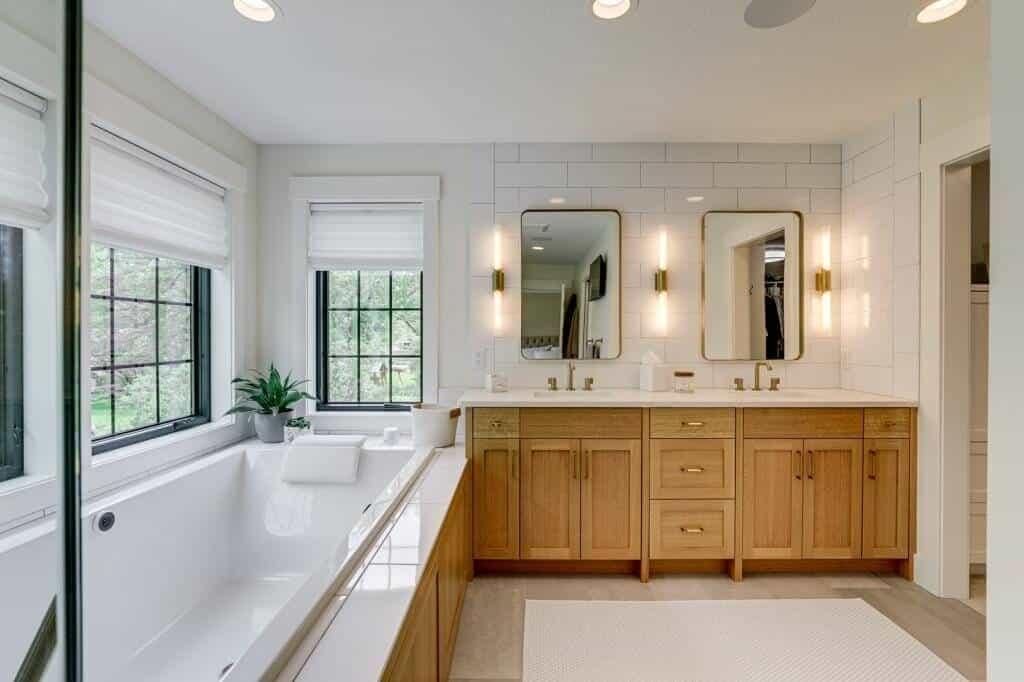 master bathroom soaker tub quartz countertop double vanity
