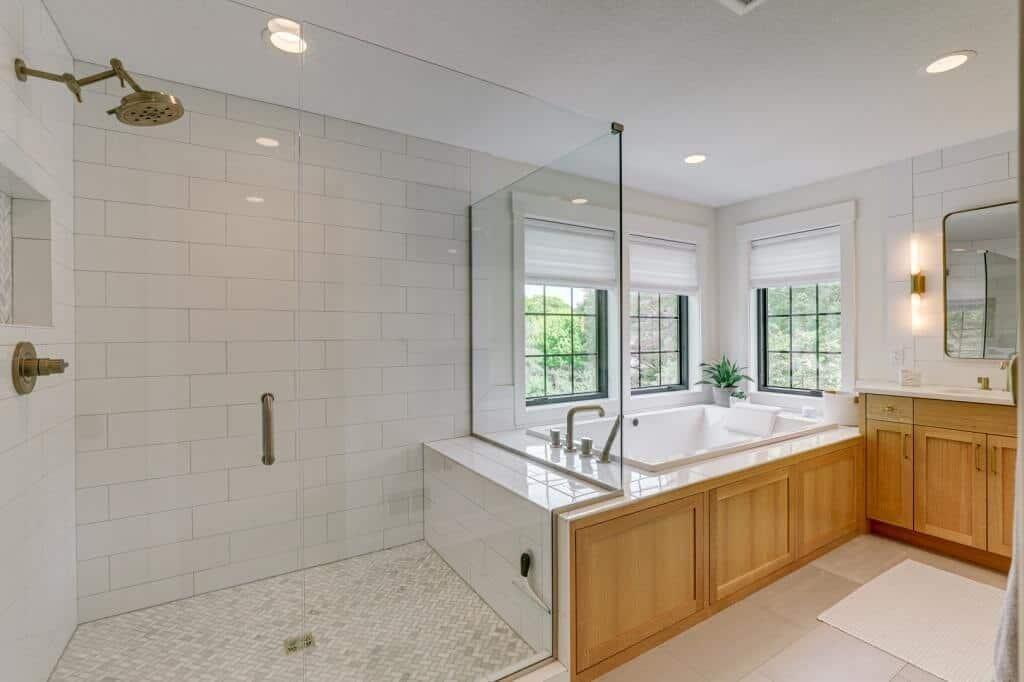tile shower glass doors soaker tub black windows