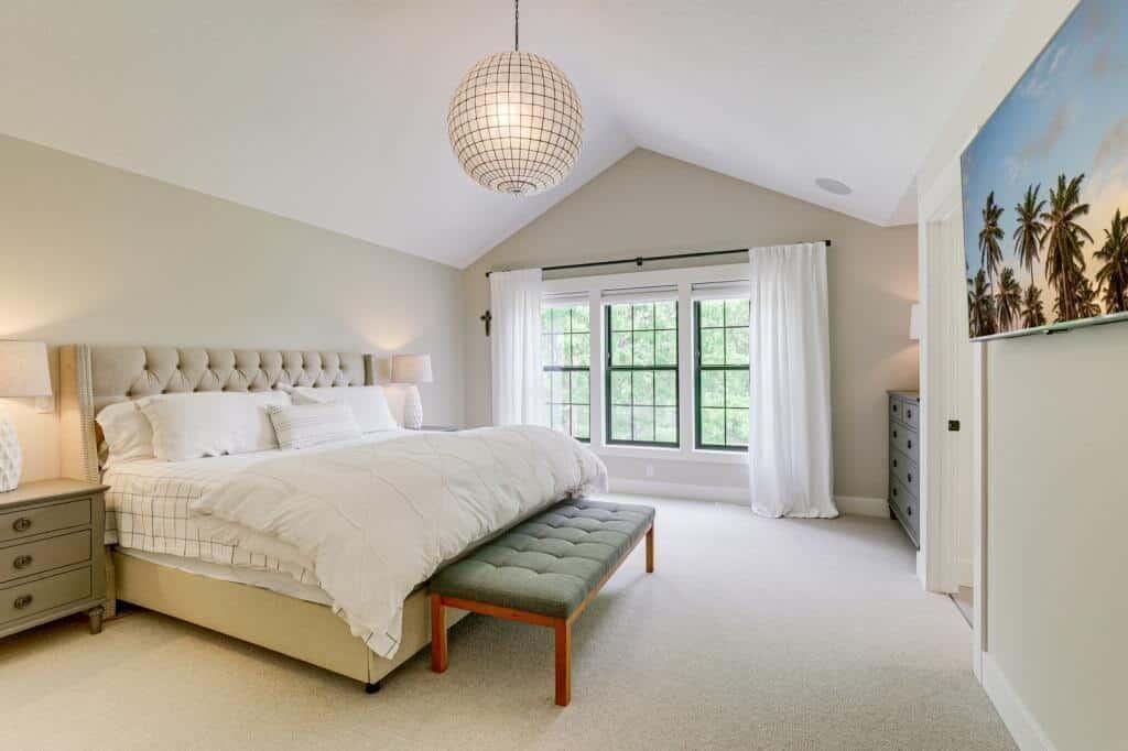 master bedroom vaulted ceiling black windows