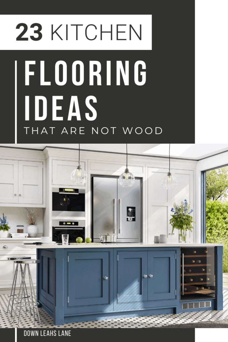 text saying 23 kitchen flooring ideas without wood floors with a picture of a white kitchen, blue island and black and white checkered flooring. below text