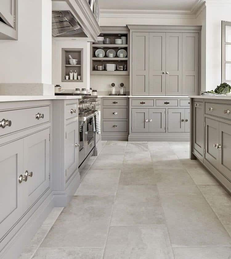 gray grey kitchen cabinets tile flooring modern traditional style