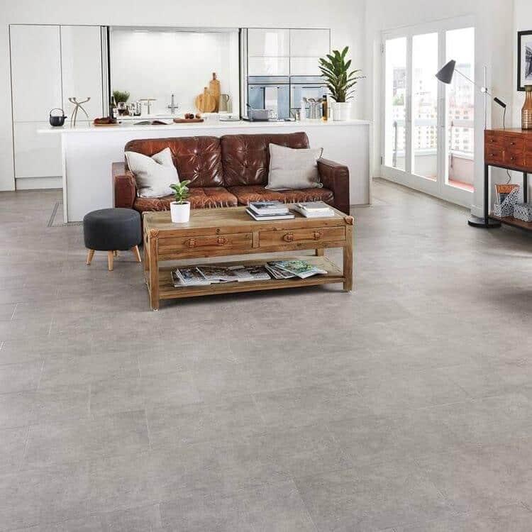modern white kitchen open concept living concrete cement looking tile
