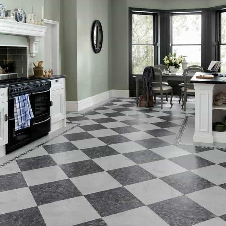 traditional classic white kitchen with checkered pattern tile flooring
