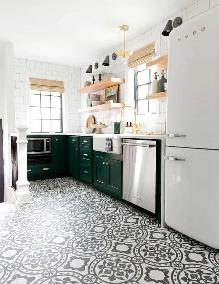 green cabinets farmhouse kitchen pattern floor tile