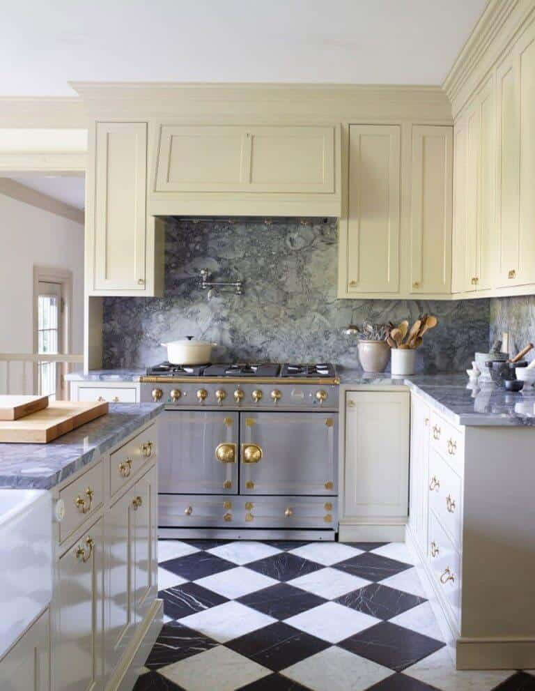 white traditional modern kitchen with white cabinets checkered marble flooring tile and grey gray marble granite countertops and backsplash