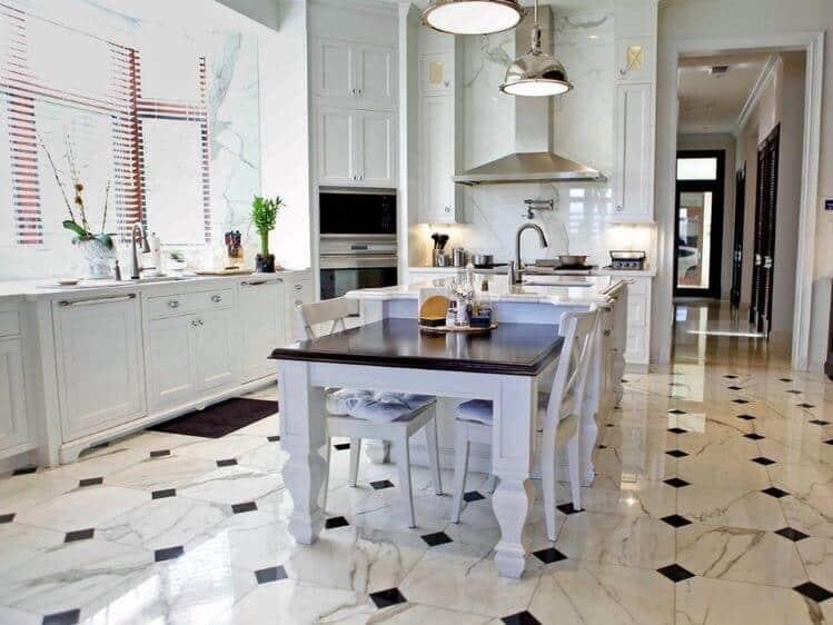 traditional white kitchen diamond mosaic tile flooring