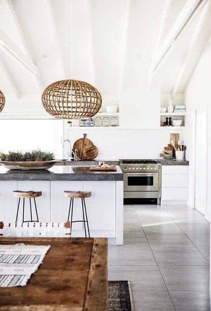 modern white kitchen with white beam ceiling white subway tile wall dark stone countertop and grey gray tile floor wicker globe pendants
