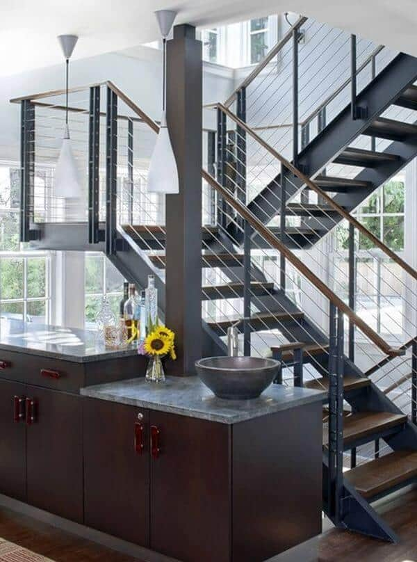 steel staircase with open wood tread stairs modern design