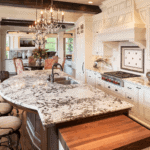 Delicatus White Granite polished countertop in traditional french country cream white kitchen
