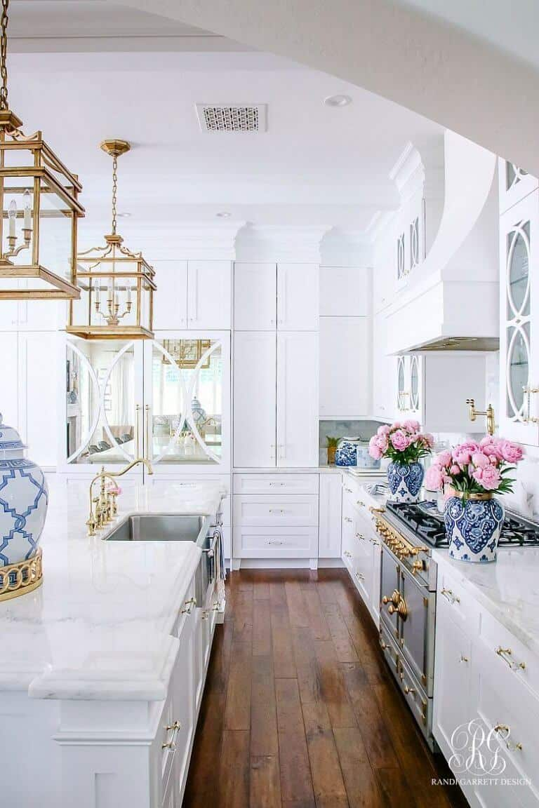 Montclair White Marble countertop in white luxury kitchen