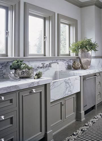 Marble countertop and sink white carrara marble with gray green cabinets luxury kitchen
