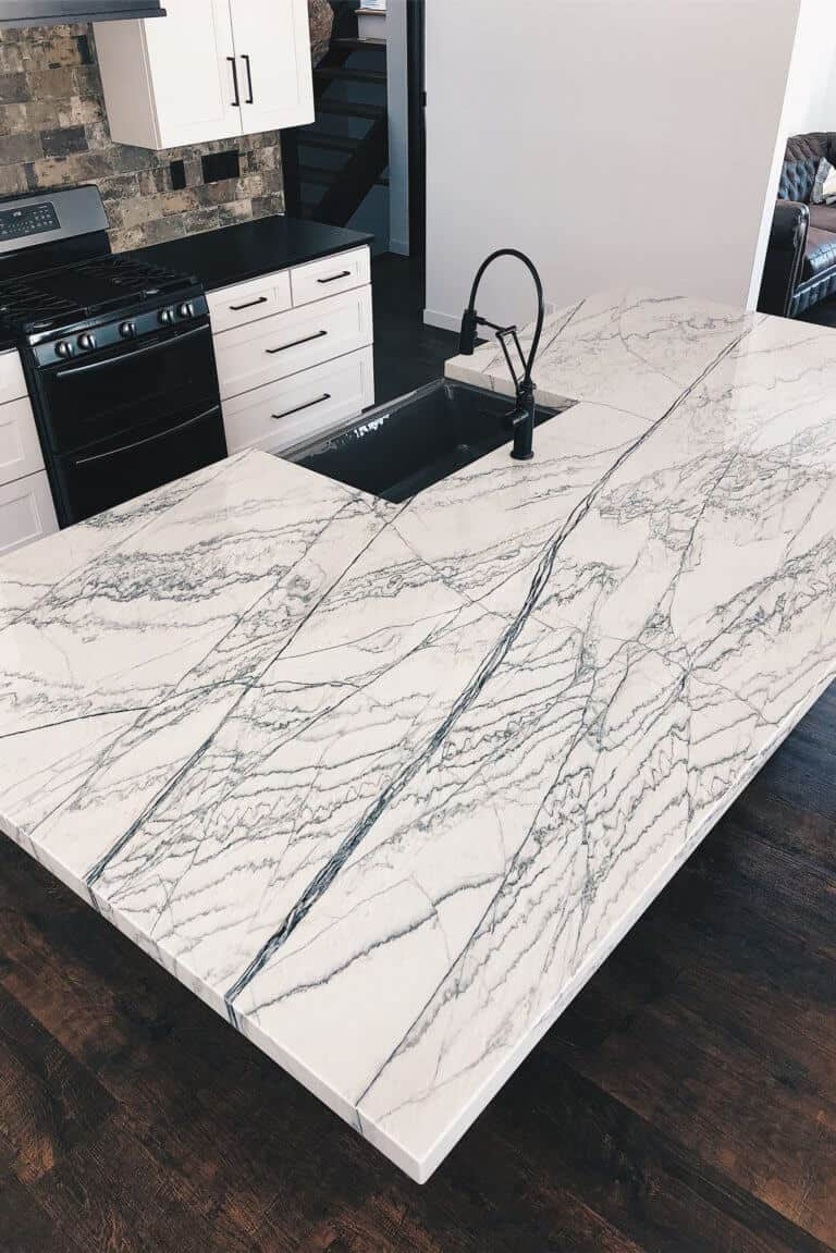 White Macaubus Quartzite countertop from Down Leahs Lane countertop reference guide
