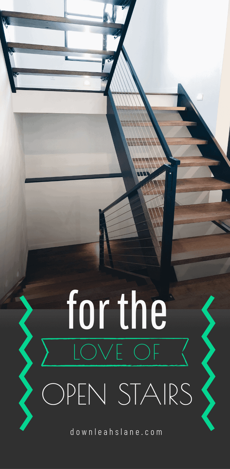 open tread oak wood stairs with wood stringers, metal top railing and cable railing system diy and built by mark and leah reinert from down leahs lane