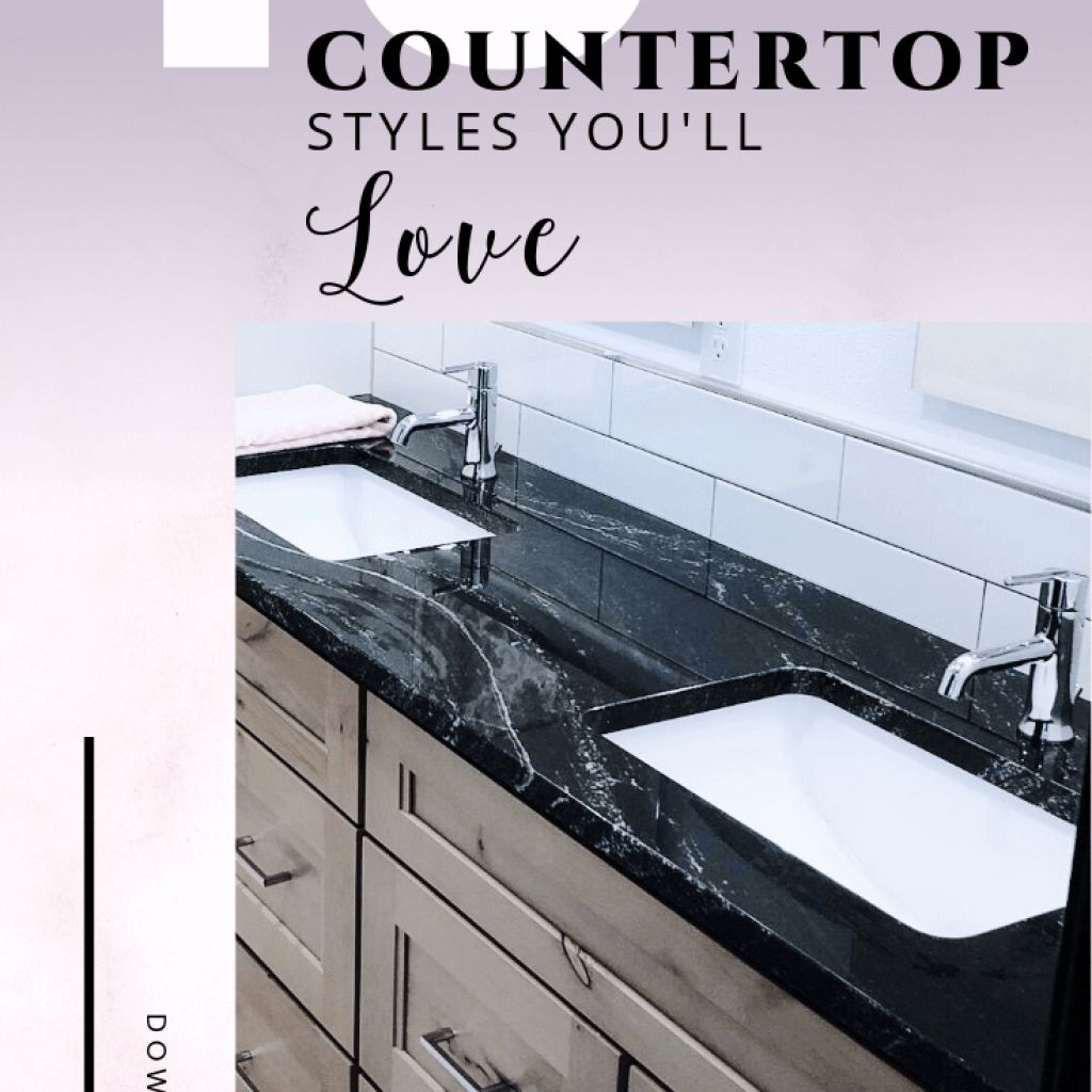black polished granite countertop on natural alder cabinets with purple to pink gradient background with overlay or white and black words. 13 Granite countertop styles to help you choose which style is the one you'll love in your new house or remodel projects.