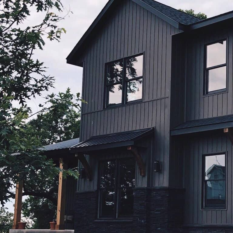 white vertical siding black windows
