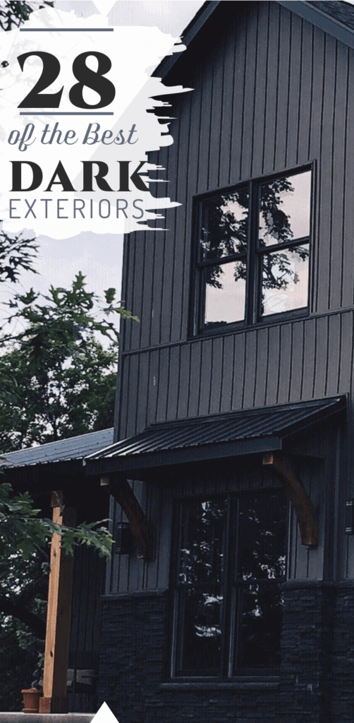 Here are 28 of the best dark exteriors to give you design ideas to revolutionize your home! These black houses are stunning, some with contrasting elements like stone and cedar, others are monotone dark exteriors that are dramatic and unique. #downleahslane #darkhouse #darkexterior #blackhouse #blackexterior #exterioridea #exteriordesign #boardandbatten #cedar #blackwindows #steelroof #modernfarmhouse #modernfarmhouseexterior