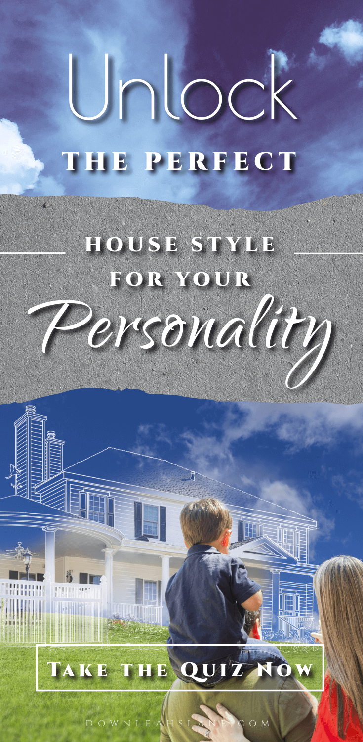 family looking at their future dream home with text overlay on a blue sky saying unlock the perfect house style for your personality. Take the quiz now.