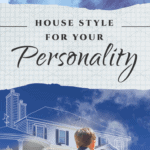 photo of son on family looking at graphic outline of their future house against blue sky and text overlay saying unlock the perfect house style for your personality take the quiz now by down leahs lane